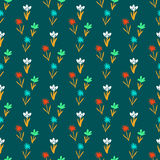 Seamless floral pattern with small flowers. Ditsy spring floral pattern with small hand drawn flowers on green background. Seamless vector vintage texture Royalty Free Stock Image