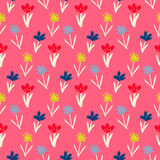 Seamless floral pattern with small flowers. Ditsy spring floral pattern with small hand drawn flowers on pink background. Seamless vector vintage texture Stock Image
