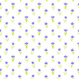 Seamless floral pattern with small flowers. Ditsy spring floral pattern with small hand drawn violet flowers on pure white background. Seamless vector vintage Stock Image