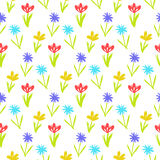 Seamless floral pattern with small flowers. Ditsy spring floral pattern with small hand drawn flowers on white background. Seamless vector vintage texture Stock Photos