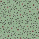Seamless floral pattern with small flowers. Endless green background. Use for wallpaper, pattern fills, web page background Stock Photo