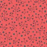 Seamless floral pattern with small flowers. Endless red background. Use for wallpaper, pattern fills, web page background Stock Image