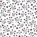 Seamless floral pattern with small flowers. Endless white background. Royalty Free Stock Images
