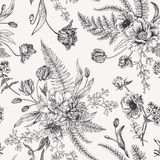 Seamless floral pattern  with spring flowers. Stock Image