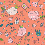 Seamless  floral pattern. Spring illustration of cute bird Stock Photography