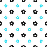 Seamless floral pattern spring summer abstract vector design decoration white background with aqua blue and black flowers. Seamless floral pattern spring summer Royalty Free Stock Images