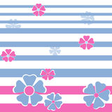 Seamless floral pattern on striped Stock Photo