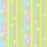 Seamless floral pattern on striped Stock Photos