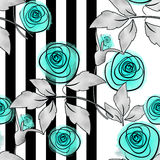Seamless floral pattern on striped Royalty Free Stock Photos