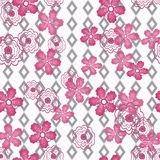 Seamless floral pattern striped background. Seamless flowers of red roses pattern on white background in grey stripe Stock Photo