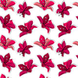 Seamless floral pattern with stylized lilies.  Red color. Stock Photos
