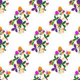 Seamless  floral pattern. Stylized silhouettes of flowers vector illustration