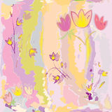Seamless floral pattern with stylized sketch tulips Royalty Free Stock Photography