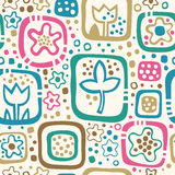 Seamless Floral Pattern, Summer Template With Abst Stock Photos
