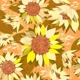 Seamless floral pattern with sunflowers. Stock Photography