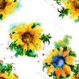 Seamless floral pattern. sunflowers. Watercolor Stock Photography