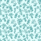 Seamless floral pattern. Seamless texture with blue flowers, hand-drawn Royalty Free Stock Image