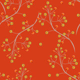 Seamless floral pattern texture on orange background Stock Image