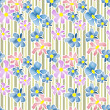 Seamless floral pattern texture on striped background Royalty Free Stock Photography