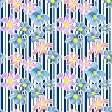 Seamless floral pattern texture on striped background Royalty Free Stock Photos