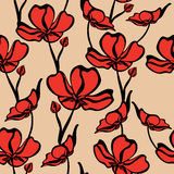 Seamless floral pattern with tropical flowers. Stock Image