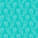 Seamless floral pattern with tulips Stock Image