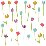 Seamless floral pattern with tulips Stock Photo