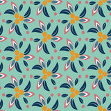 Seamless floral pattern with turquoise background. Vector illustration Royalty Free Stock Images