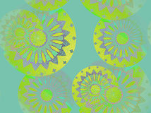 Seamless floral pattern turquoise yellow stock image