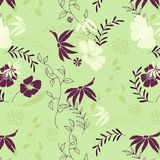Seamless floral pattern. Vector background with flowers and leaves stock illustration