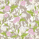 Seamless floral pattern. Vector background with lilly flowers Royalty Free Stock Photo