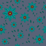 Seamless floral pattern. Vector seamless pattern of green flowers and leafs Royalty Free Stock Images