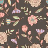 Seamless floral pattern Vector illustration. Seamless floral hand drawn retro pattern with flowers Royalty Free Stock Photo