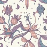Seamless floral pattern. Vector vintage inspired seamless floral pattern with colorful flowers Royalty Free Stock Image
