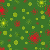 Seamless floral pattern. Vector. Seamless floral pattern. Yellow and red flowers on a green background.Vector Royalty Free Stock Photo