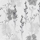 Seamless floral pattern in vintage style. Leaves and herbs. Botanical illustration. Thin delicate line silhouettes of different. Grey background vector illustration