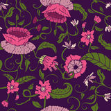 Seamless floral pattern on violet background Stock Photo
