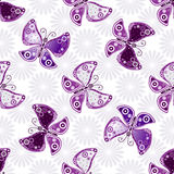 Seamless floral pattern with violet butterflies Stock Photo