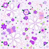 Seamless floral pattern in violet tones Stock Images