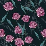 Seamless floral pattern. Violet Tulips flowers and white silhouette. Seamless floral pattern. Violet Tulips flowers and white silhouette on a monochrome dark vector illustration