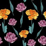 Seamless floral pattern. Violet and Yellow Tulips flowers. Seamless floral pattern. Violet and Yellow Tulips flowers on a monochrome dark background vector illustration