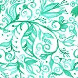 Seamless floral pattern waretcolor. Watercolor seamless floral pattern borders. drawing painting background . Backdrop, background, fabric, Wallpaper. Summer stock illustration