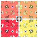 Seamless floral pattern & warm colored background Stock Photos