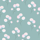 Seamless floral pattern with the watercolor abstract fluff branches. Hand drawn on a blue background Stock Image
