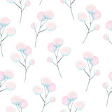 Seamless floral pattern with the watercolor abstract fluff branches Stock Photography