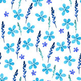 Seamless floral pattern with watercolor blue flowers and leaves in vintage style. Hand made. Ornate for textile, fabric Royalty Free Stock Photography