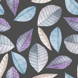Seamless floral pattern with the watercolor blue leaves, hand  painted on a dark background Stock Photography