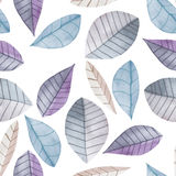Seamless floral pattern with the watercolor blue leaves, hand  painted on a white background Royalty Free Stock Images