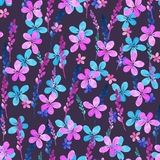 Seamless floral pattern with watercolor blue pink flowers and leaves in vintage style on violet background. . Hand made Royalty Free Stock Image