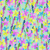 Seamless floral pattern with watercolor blue pink yellow flowers and leaves in vintage style on  background. . Hand made Royalty Free Stock Image